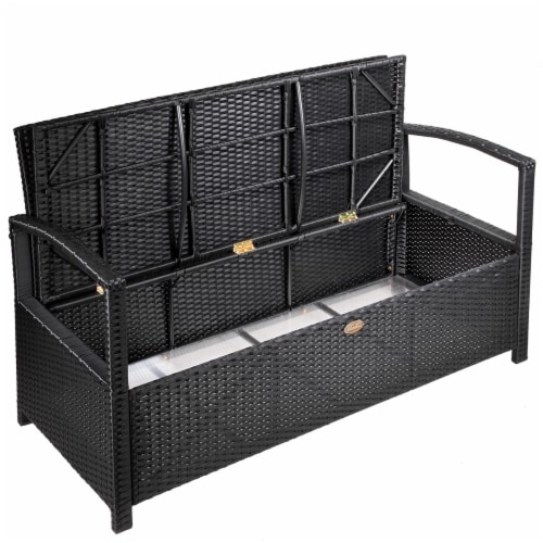 All-Weather Outdoor Storage Bench Pool Deck Box Patio with Cushion Seat Perspective: bottom
