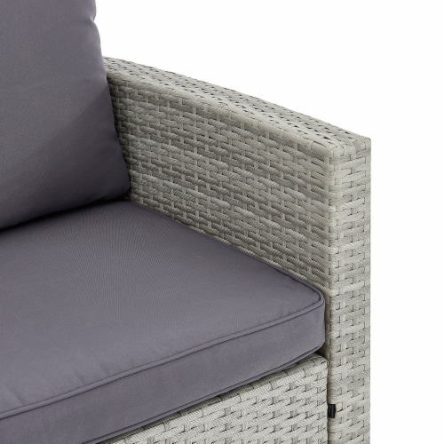 6-Pieces Outdoor Patio Dining Set Wicker Table Cushion Seat, Grey Perspective: bottom