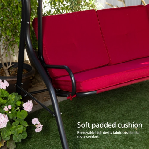 Outdoor 3-Seater Patio Porch Swing Chair with Adjustable Canopy Perspective: bottom