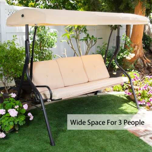 Outdoor 3-Seater Patio Porch Swing Chair Adjustable Canopy W/ Cushion Perspective: bottom