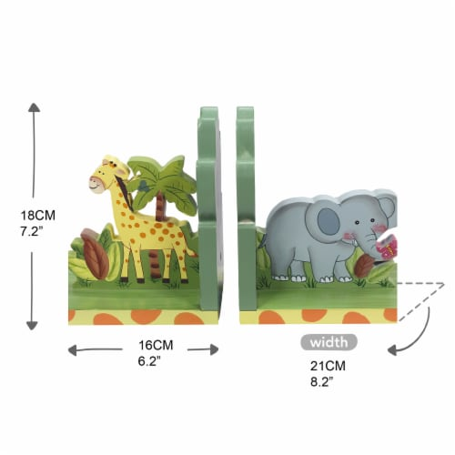 Kids Sunny Safari Bookends by Fantasy Fields Wooden Animal Nursery Décor W-9837A Perspective: bottom