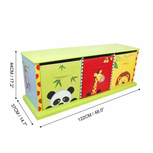 Fantasy Fields Children Sunny Safari Kids Wooden Toy Box Canvas Drawer TD-0131A Perspective: bottom