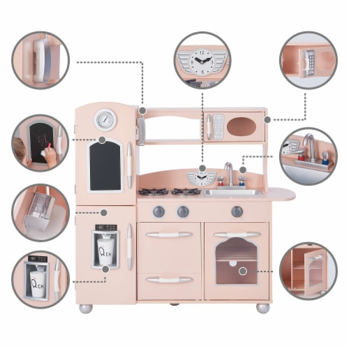 Pink Wooden Toy Kitchen with Fridge Freezer and Oven by Teamson Kids TD-11414P Perspective: bottom