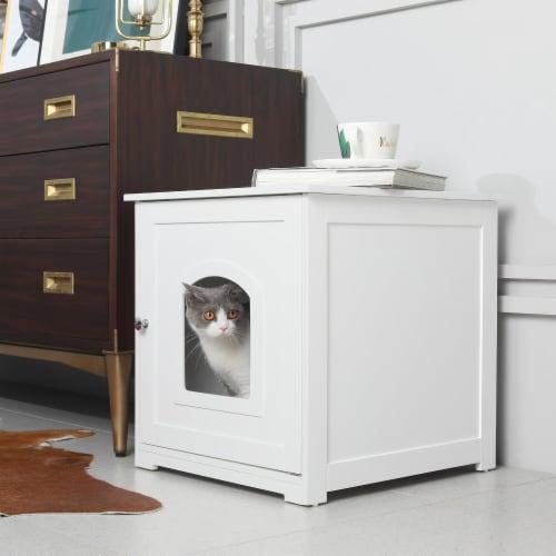zoovilla Kitty Litter Loo Indoor Hidden Litter Box Furniture Enclosure, White Perspective: bottom