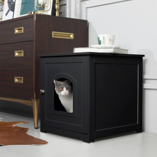 zoovilla Kitty Litter Loo Indoor Hidden Litter Box Furniture Enclosure, Black Perspective: bottom