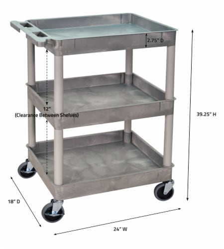 Sim Supply Utility Cart,300 lb. Cap.,PE,3 Shelves HAWA STC111-G Perspective: bottom