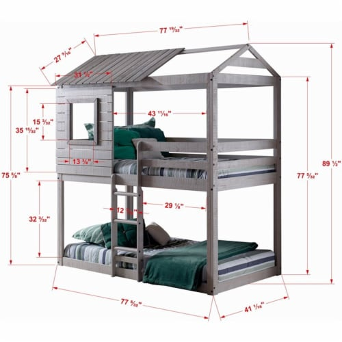 Donco Kids Deer Blind Twin Over Twin Solid Wood Bunk Bed with Blue Tent in Gray Perspective: bottom