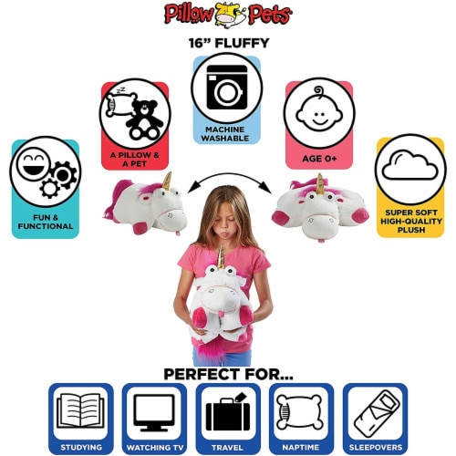 Pillow Pets NBC Universal Despicable Me Fluffy The Unicorn Stuffed Animal Perspective: bottom