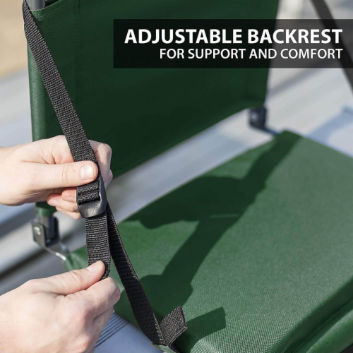 Eastpoint Sports Adjustable Bleacher Backrest Stadium Seat w/ Cup Holder, Green Perspective: bottom