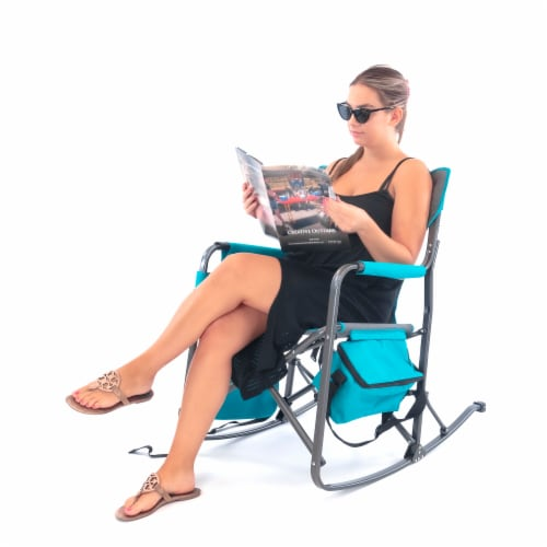 Creative Outdoor Rocking Folding Director Chair - Gray/Teal Perspective: bottom