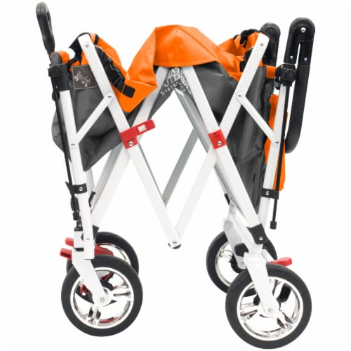 Creative Outdoor Silver Series Push Pull Folding Wagon Stroller with Canopy - Orange Perspective: bottom