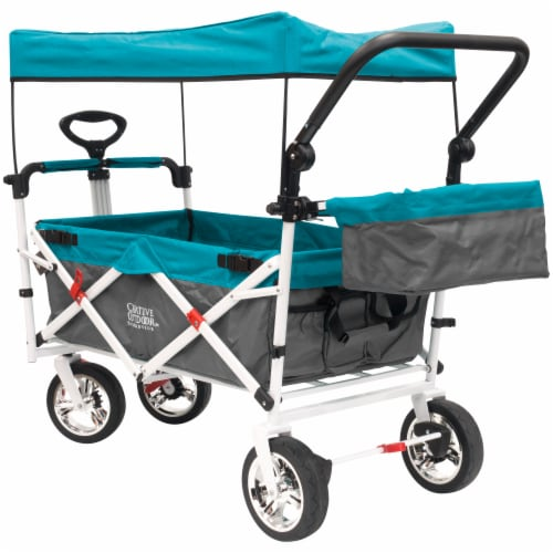 Creative Outdoor Silver Series Push Pull Folding Wagon Stroller with Canopy - Teal Perspective: bottom