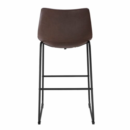 40  Faux Leather Bar Stool in Brown (Set of 2) Perspective: bottom