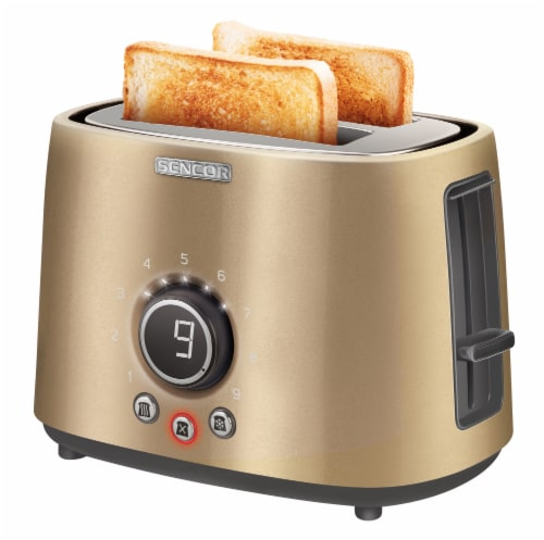 Sencor 2-Slot Toaster with Digital Button and Rack - Champagne Perspective: bottom