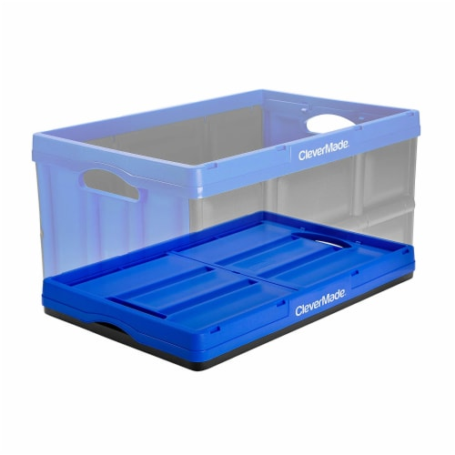 CleverMade Durable Stackable 62L Collapsible Storage Bins, Royal Blue (3-Pack) Perspective: bottom