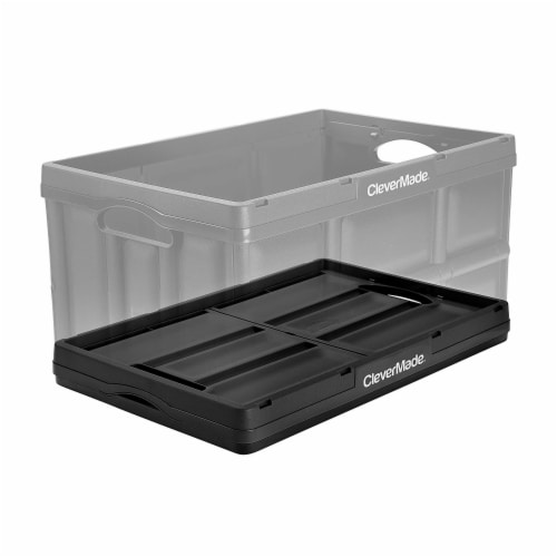 CleverMade Durable Stackable 62L Home Collapsible Storage Bins, Black (3-Pack) Perspective: bottom