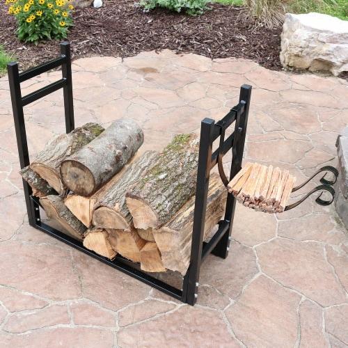 """Sunnydaze Log Rack and Kindling Holder 30"""" Steel with Black Finish Wood Storage Perspective: bottom"""