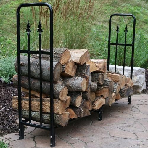 Sunnydaze Log Rack 6' Black Steel Indoor Outdoor Decorative Firewood Holder Perspective: bottom