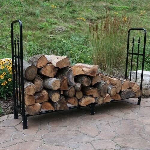 Sunnydaze Firewood Steel Log Holder Storage Holder with Waterproof Cover - 6' Perspective: bottom