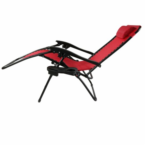 Sunnydaze Zero Gravity Lounge Chair with Detachable Pillow and Cup Holder - Red Perspective: bottom