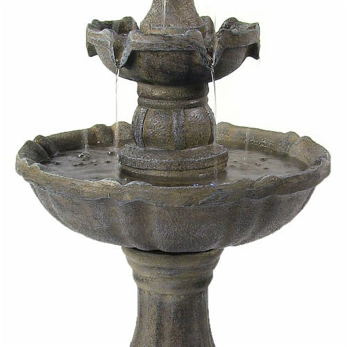 """Sunnydaze 2 Tier Pineapple Solar Outdoor Water Fountain with Battery 33"""" Feature Perspective: bottom"""