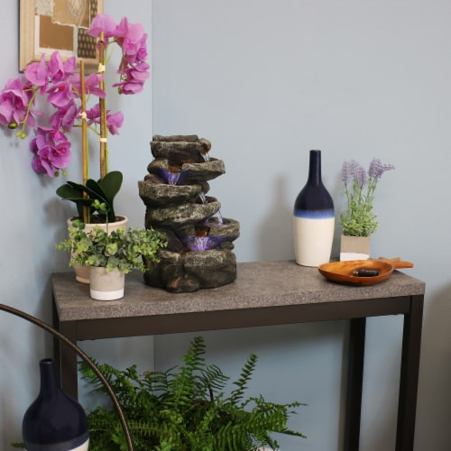 """Sunnydaze 6 Tier Stone Falls Tabletop Indoor Water Fountain Feature w/ LED - 15"""" Perspective: bottom"""