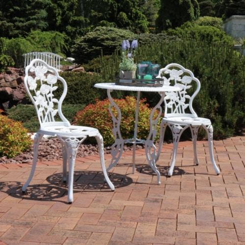 Sunnydaze 3-Piece White Flower Designed Cast Aluminum Patio Furniture Bistro Set Perspective: bottom