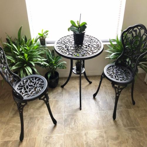 Sunnydaze 3-Piece Outdoor Cast Aluminum Patio Garden Furniture Bistro Set -Black Perspective: bottom
