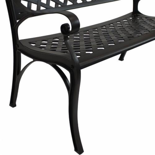 Sunnydaze 2-Person Black Checkered Cast Aluminum Outdoor Patio Garden Bench Perspective: bottom