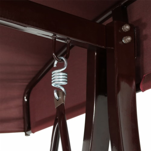Sunnydaze Deluxe Steel Frame Maroon Cushioned Swing with Canopy and Side Tables Perspective: bottom