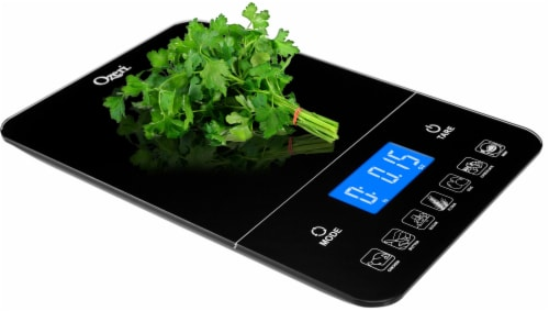 Ozeri Touch III 22 lbs (10 kg) Digital Kitchen Scale with Calorie Counter, in Tempered Glass Perspective: bottom