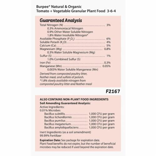 Burpee 7504046 4 lbs Tomato & Vegetable Granules Plant Food Perspective: bottom