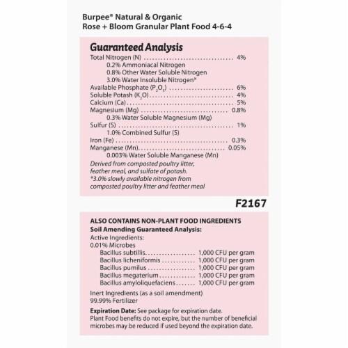 Burpee 7504038 4 lbs Organic Rose & Bloom Plant Food Perspective: bottom