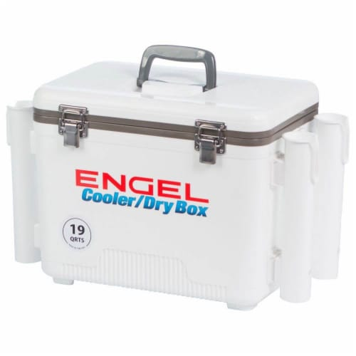 Engel 19 Quart Fishing Rod Holder Attachment Insulated Dry Box Ice Cooler, White Perspective: bottom