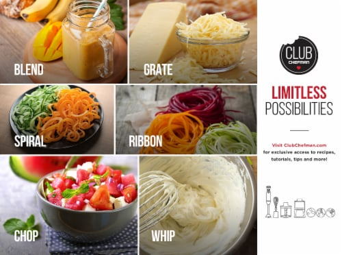 Chefman Electric Spiralizer & Immersion Blender 6-IN-1 Food Prep Combo Kit Perspective: bottom