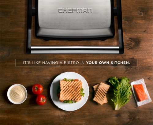 Chefman Electric Stainless Steel 180 Panini Press - Black Perspective: bottom
