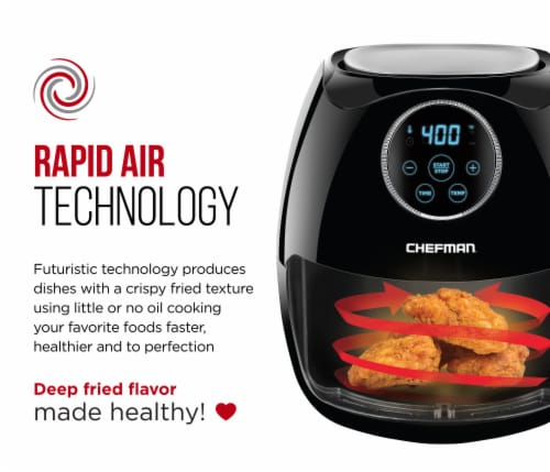 Chefman Digital Air Fryer with Flat Basket - Black Perspective: bottom