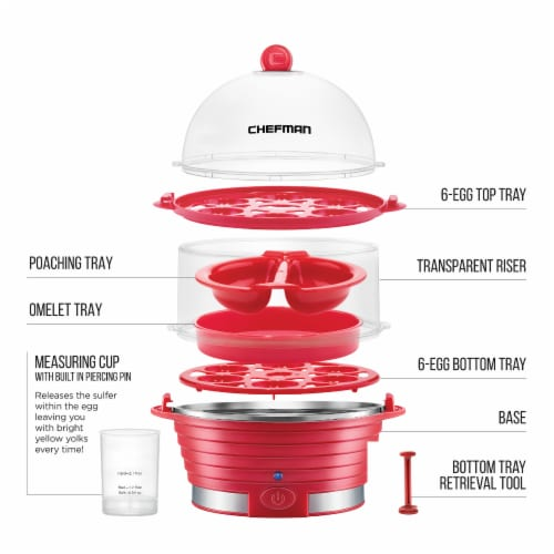 Chefman Electric Double Decker Egg Cooker - Red Perspective: bottom