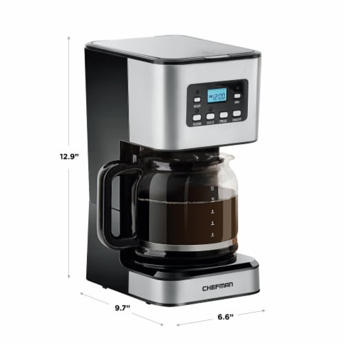 Chefman Square Stainless Steel Programmable Electric Coffee Maker - Silver Perspective: bottom