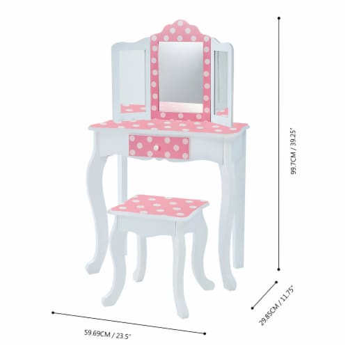 Fantasy Fields Kids Vanity Set Wooden Table with Mirror & Stool Pink TD-11670F Perspective: bottom