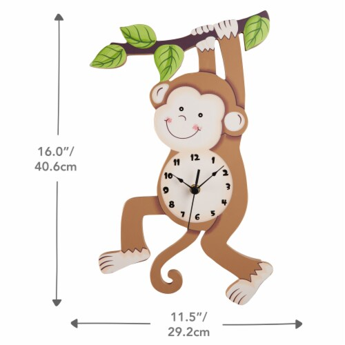 Kids Monkey Wall Clock Animal Themed Sunny Safari by Fantasy Fields TD-0081AR Perspective: bottom