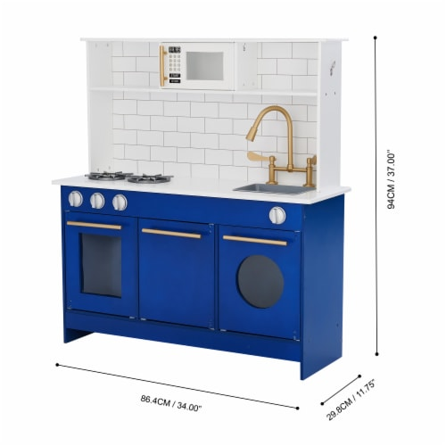 Blue Kids Toy Kitchen Wooden Cooker Children Imitation Play TeamsonKidsTD12681B Perspective: bottom