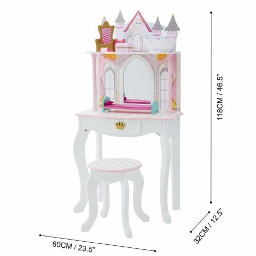 Fantasy Fields Kids Vanity Set Castle Table With Mirror & Stool White TD-12951A Perspective: bottom