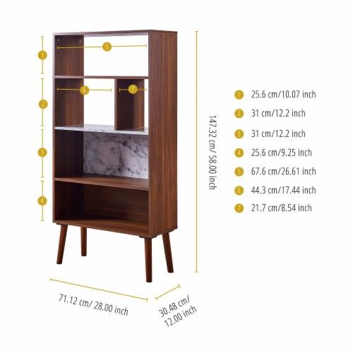 Versanora Wooden Bookcase Bookshelf 4 Tier Faux Marble Walnut Kingston VNF-00078 Perspective: bottom