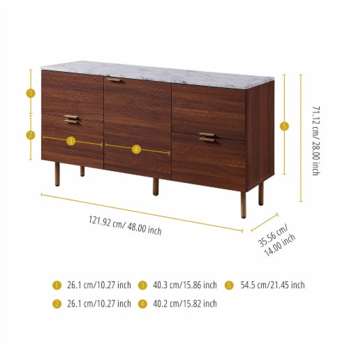 Versanora Wooden Sideboard With Faux Marble Top & Walnut Legs Ashton VNF-00081 Perspective: bottom
