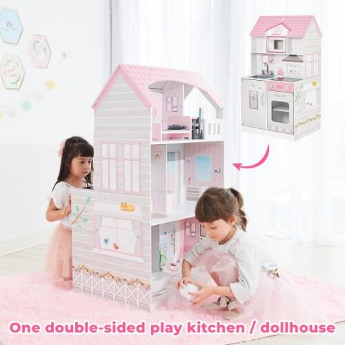 Teamson Kids 'Wonderland' Children's 2 in 1 Doll House & Play Kitchen TD-12515P Perspective: bottom