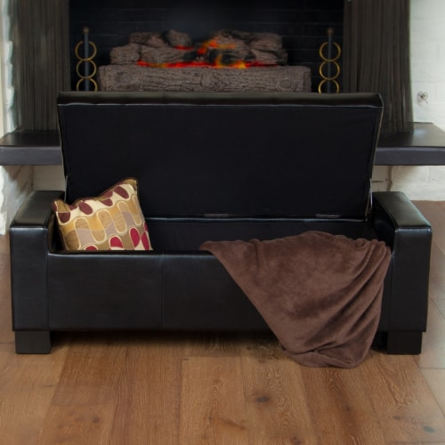 Rothwell Black Leather Storage Ottoman Bench Perspective: bottom