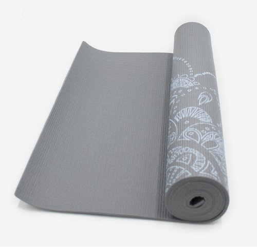 Oak and Reed Extra-Thick Non-Slip Yoga Mat, Grey Floral Medallion Perspective: bottom