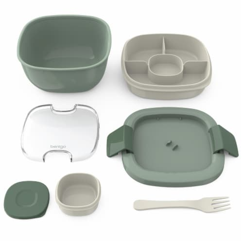 Bentgo Salad On-The-Go Food Container - Khaki Green Perspective: bottom