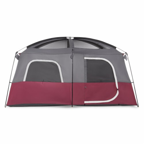 CORE Straight Wall 14 x 10 Foot 10 Person Cabin Tent with 2 Rooms & Rainfly, Red Perspective: bottom